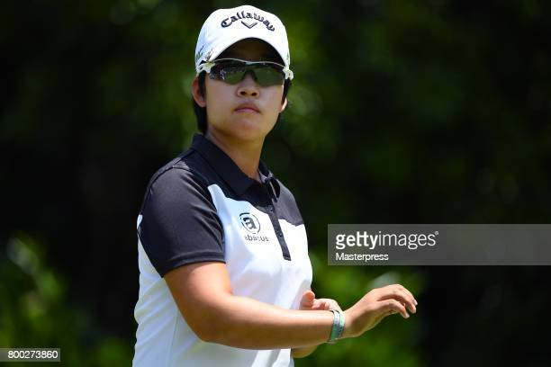 HeeKyung Bae of South Korea looks on during the third round of the Earth Mondamin Cup at the Camellia Hills Country Club on June 24 2017 in Sodegaura...