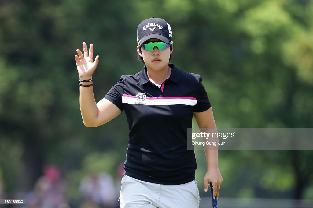 Hee-Kyung Bae of South Korea reacts after a putt on the 18th green during the final round of the Chukyo Television Bridgestone Ladies Open at the Chukyo Golf Club Ishino Course on May 21, 2017 in Toyota, Japan.