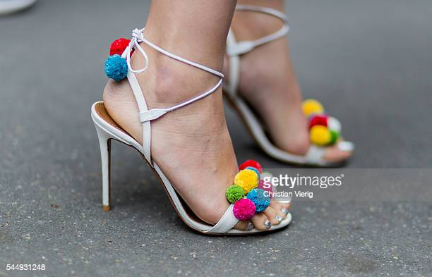 Heels outside Dior during Paris Fashion Week Haute Couture F/W 2016/2017 on July 4 2016 in Paris France