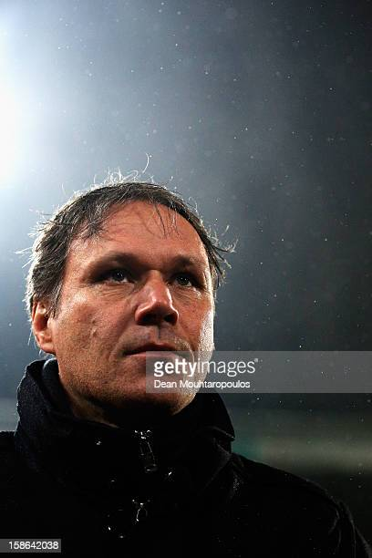 Heerenveen Manager / Coach Marco van Basten looks on after victory in the Eredivisie match between SC Heerenveen and Vitesse Arnhem at Abe Lenstra...