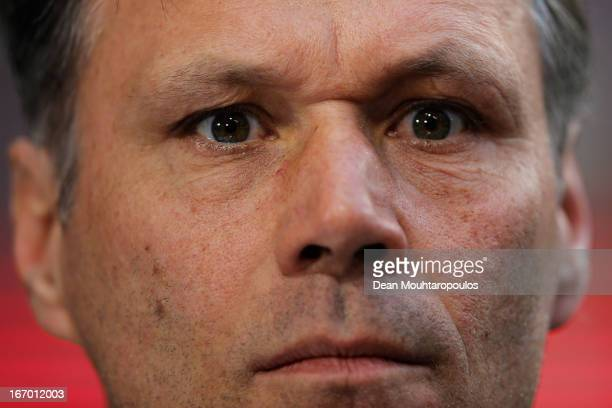 Heerenveen Manager / Coach Marco van Basten looks on during the Eredivisie match between Ajax Amsterdam and SC Heerenveen at Amsterdam Arena on April...