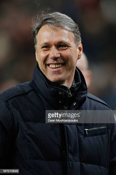 Heerenveen Manager / Coach Marco van Basten smiles after his team get a draw in the Eredivisie match between Ajax Amsterdam and SC Heerenveen at...