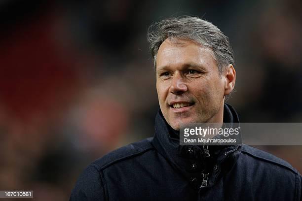 Heerenveen Manager / Coach Marco van Basten smiles after his team get a draw in the Eredivisie match between Ajax Amsterdam and SC Heerenveen at...