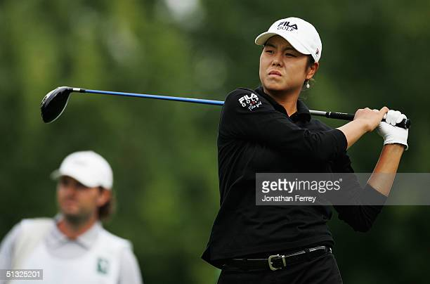 Hee-Won Han watches her tee shot on the 14th hole during the final round of the LPGA Safeway Classic on September 19, 2004 at the Columbia Edgewater...
