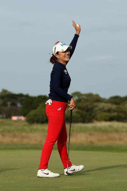 Heeyoung Park of South Korea celebrates after winning the ISPS Handa Vic Open at 13th Beach Golf Club on February 09 2020 in Geelong Australia