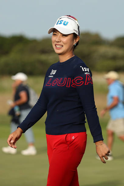 Heeyoung Park of South Korea celebrates winning the ISPS Handa Vic Open on Day Four at 13th Beach Golf Club on February 09 2020 in Geelong Australia