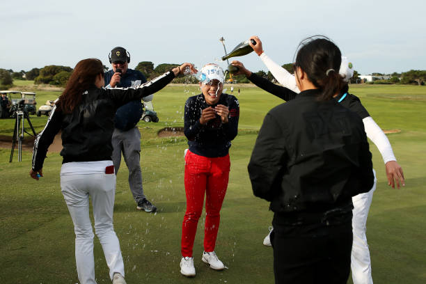 Heeyoung Park of South Korea is showered with champagne after winning the ISPS Handa Vic Open at 13th Beach Golf Club on February 09 2020 in Geelong...