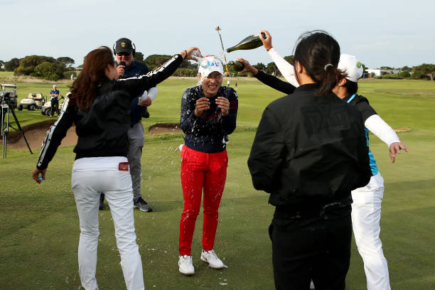 Heeyoung Park of South Korea is showered with champagne after winning the Women's ISPS Handa Vic Open at 13th Beach Golf Club on February 09 2020 in...