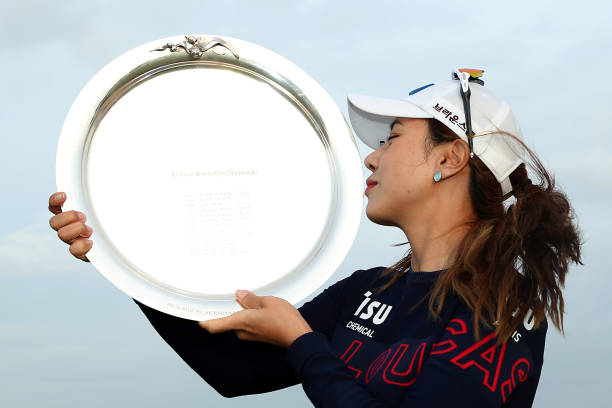 Heeyoung Park of South Korea kisses the Victorian Women's Open Championship trophy after winning the ISPS Handa Vic Open at 13th Beach Golf Club on...