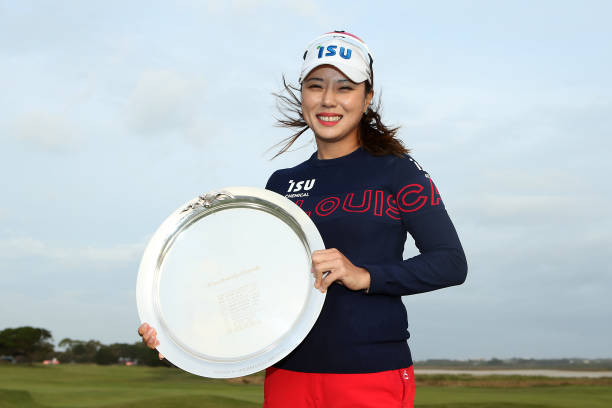 Heeyoung Park of South Korea poses with the Victorian Women's Open Championship trophy after winning the ISPS Handa Vic Open at 13th Beach Golf Club...