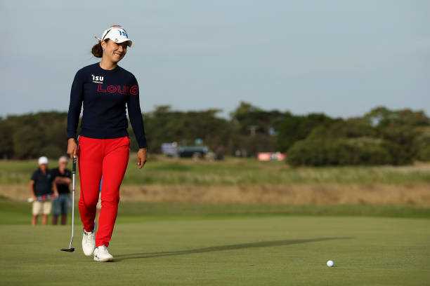 Heeyoung Park of South Korea smiles as she walks onto the 18th Beach Course green during her 4th hole playoff during Day Four of the ISPS Handa Vic...