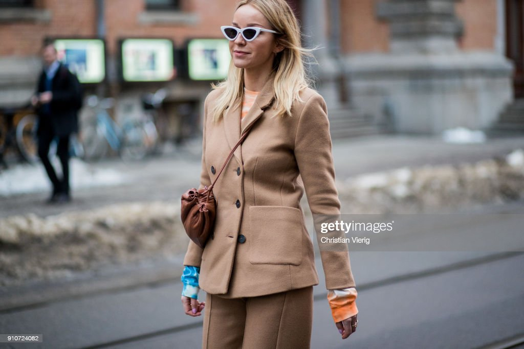 Hege Aurelie wearing beige suit is seen outside by TiMo on January 26, 2018 in Oslo, Norway.