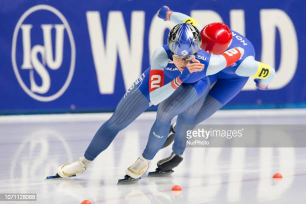 Hege Bokko Anne Gulbrandsen compete in the Men's ISU World Cup Speed Skating at Tomaszow Mazoviecki Ice Arena on December 9 2018 in Tomaszow...