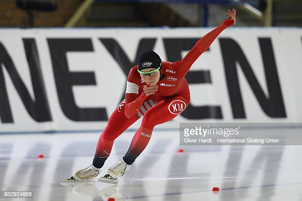 Hege Bokko of Norrway competes in the Ladies Divison A 500m race during the ISU World Cup Speed Skating Day 2 at the Sportforum Berlin Stadium on...