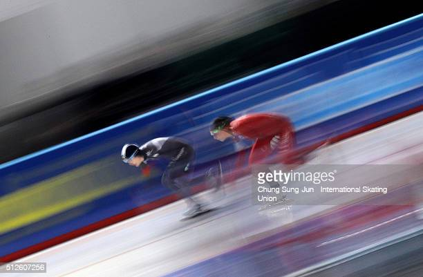 Hege Bokko of Norway and Kim HyunYung of South Korea compete in the Ladies 500M during ISU World Sprint Speed Skating Championships on February 27...