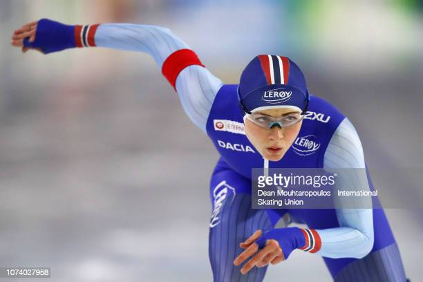 Hege Bokko of Norway competes in 500m Ladies race during the ISU Speed Skating Long Track World Cup at the Thialf Ice Arena on December 15 2018 in...