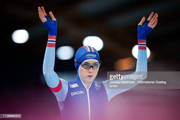 Hege Bokko of Norway competes in the Ladies 1000m during day 2 of the ISU World Cup Speed Skating Hamar at Hamar Olympic Hall on February 02 2019 in...