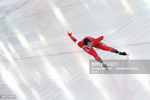 Hege Bokko of Norway competes in the Ladies 1000m Sprint during day 3 of the European Speed Skating Championships at icerink Thialf on January 8 2017...