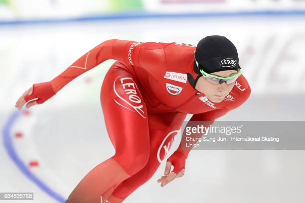 Hege Bokko of Norway competes in the Ladies 500 during the ISU World Single Distances Speed Skating Championships Gangneung Test Event For...