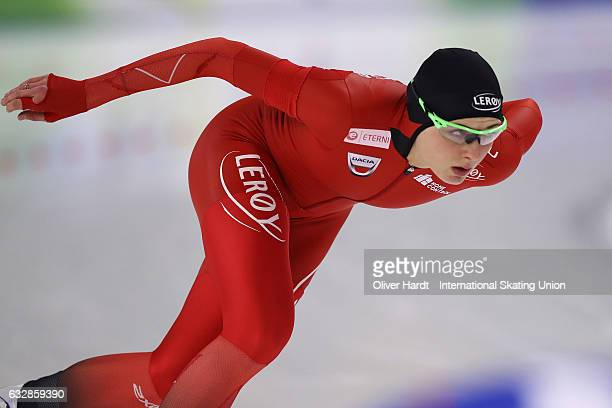 Hege Bokko of Norway competes in the Ladies Divison A 1000m race during the ISU World Cup Speed Skating Day 1 at the Sportforum Berlin Stadium on...