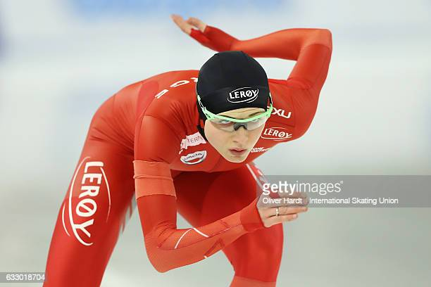 Hege Bokko of Norway competes in the Ladies Divison A 1000m race during the ISU World Cup Speed Skating Day 3 at the Sportforum Berlin Stadium on...
