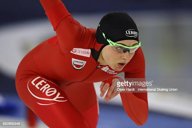 Hege Bokko of Norway competes in the Ladies Divison A 500m race during the ISU World Cup Speed Skating Day 1 at the Sportforum Berlin Stadium on...