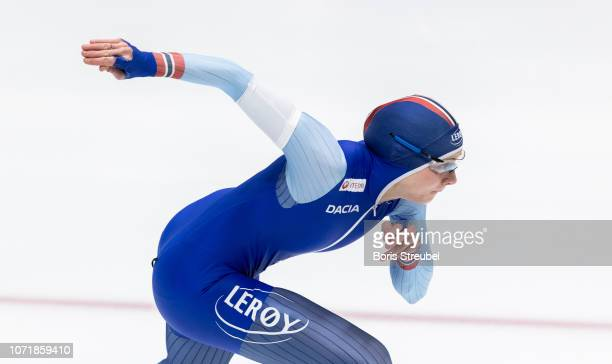 Hege Bokko of Norway competes in the Women's 500m 2nd Division A race on day two of the ISU World Cup Speed Skating at Tomaszow Mazoviecki Ice Arena...