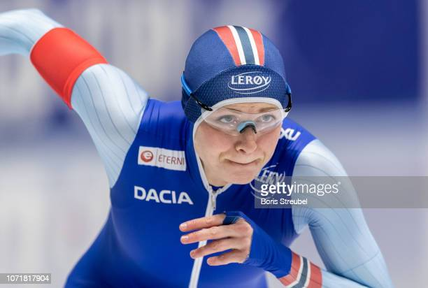 Hege Bokko of Norway competes in the Women's 500m Division A race on day one of the ISU World Cup Speed Skating at Tomaszow Mazoviecki Ice Arena on...