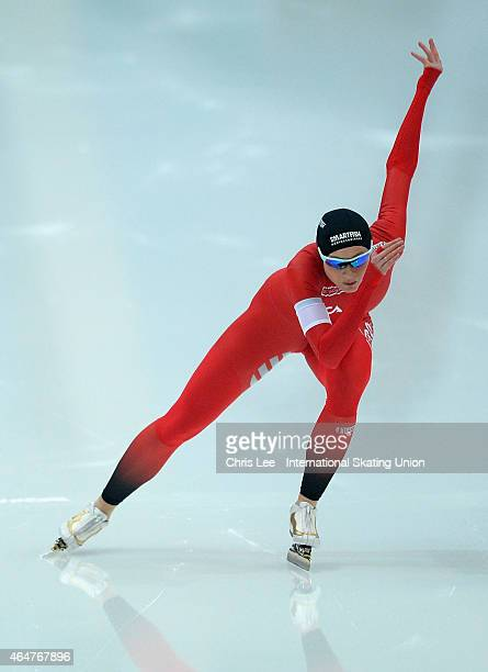 Hege Bokko of Norway in action in the Ladies 500m race during Day 1 of the ISU World Sprint Speed Skating Championships at the Alau Ice Palace on...