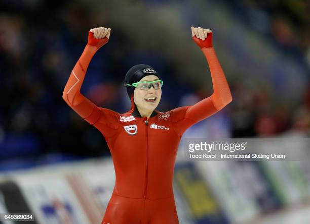 Hege Bokko of Norway reacts after her race in the women's 1000 meter race during the ISU World Sprint Speed Skating Championships on February 25 2017...