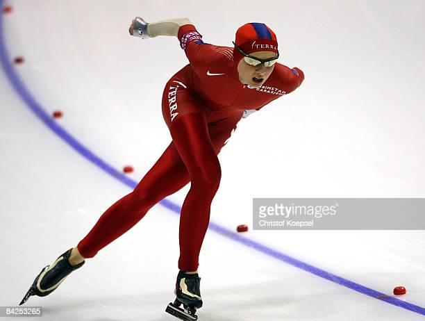 Hege Bokko of Norway skates during 1500 meter women of the Essent ISU European Speed Skating Championships at the Thialf Ice Stadium on January 11...