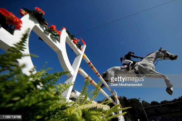 Hege C. Tidemandsen of Norway riding Carvis competes during Day 4 of the Longines FEI Jumping European Championship 2nd part, team Jumping 1st round...