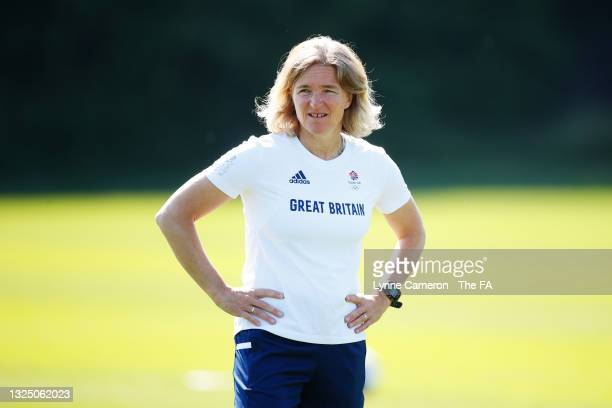 Hege Riise, Head Coach of Great Britain looks on during the Team GB Football Training Session at Loughborough University on June 23, 2021 in...