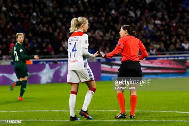 Hegerberg Ada of Lyon and Referee Kateryna Monzul during the Women's Champions League match between Lyon and Wolfsburg on March 20 2019 in Lyon France