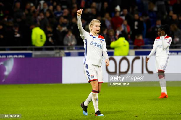Hegerberg Ada of Lyon salutes the crowd during the Women's Champions League match between Lyon and Wolfsburg on March 20 2019 in Lyon France
