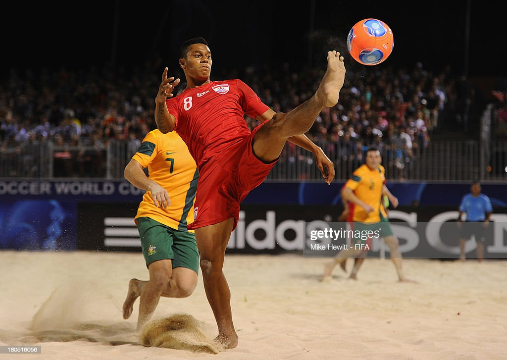 Heiarii Tavanae of Tahiti controls the ball during a friendly match between Tahiti and Australia after the Welcome Ceremony for the FIFA Beach Soccer World Cup Tahiti 2013 at the Tahua To'ata Stadium on September 13, 2013 in Papeete, French Polynesia.