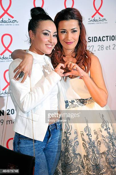 Heida Charni and Karima Charni attend the Sidaction 2015 at Musee du Quai Branly on March 2 2015 in Paris France