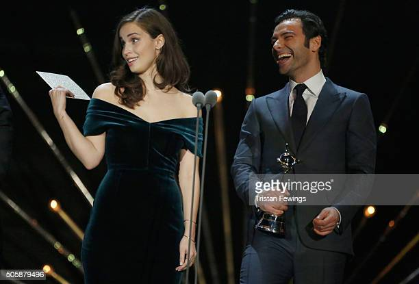 Heida Reed and Aidan Turner present the award for Drama at the 21st National Television Awards at The O2 Arena on January 20 2016 in London England
