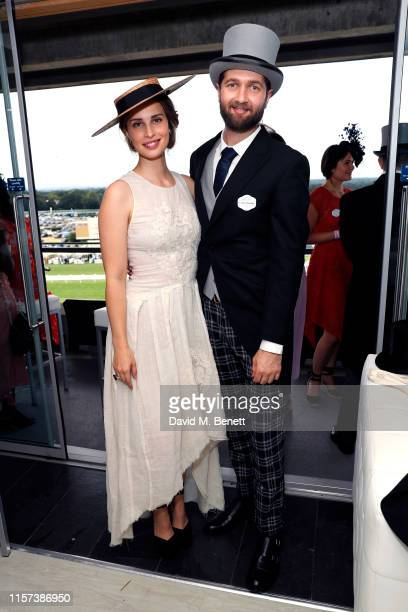 Heida Reed and Sam Ritzenberg attend Longines host VIPs in their private suite Royal Enclosure at Royal Ascot on June 21 2019 in Ascot England