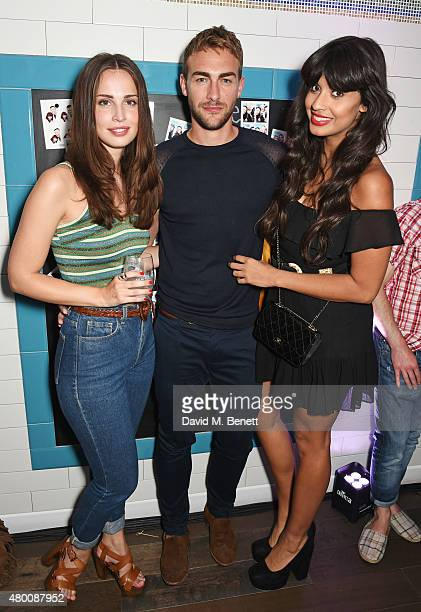 Heida Reed Tom Austen and Jameela Jamil attend the Kiehl's Pioneers By Nature Party at the Kiehl's Regent Street Store on July 9 2015 in London...