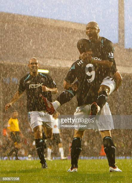 Heidar Helguson celebrates his goal with El Hadji Diouf of Bolton Wanderers during the Fulham v Bolton Wanderers Premiership Match at Craven Cottage...