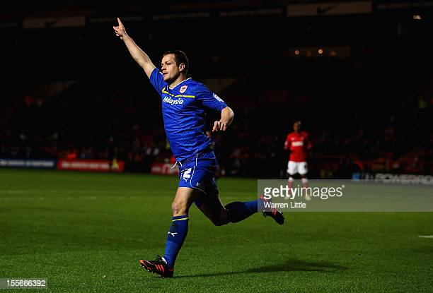 Heidar Helguson of Cardiff City celebrates after scoring the opening goal during the npower Championship match between Charlton Athletic and Cardiff...