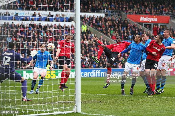 Heidar Helguson of Cardiff City scores the opening goal during the npower Championship match between Cardiff City and Nottingham Forest at the...