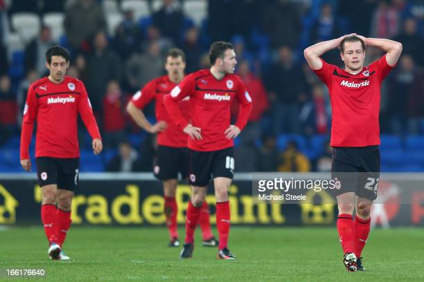 Heidar Helguson of Cardiff City shows his frustration after his side conceded a last minute equalising goal during the npower Championship match...