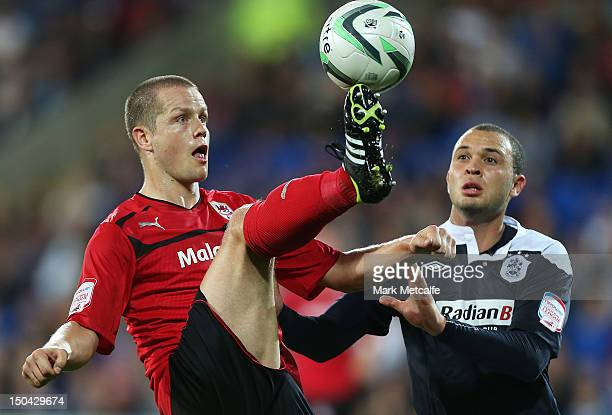 Heidar Helguson of Cardiff controls the ball during the npower Championship match between Cardiff City and Huddersfield Town at Cardiff City Stadium...