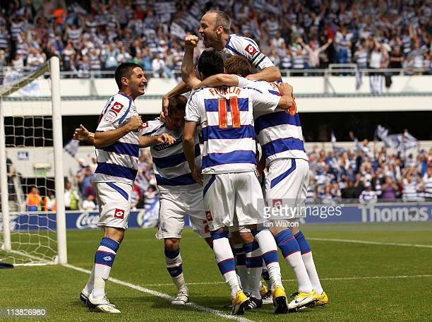 Heidar Helguson of QPR celebrates after scoring the first goal during the npower Championship match between Queens Park Rangers and Leeds United at...