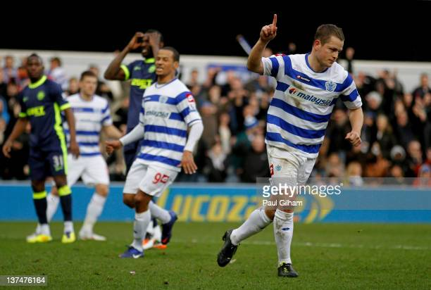 Heidar Helguson of QPR celebrates after scoring the opening goal from the penalty spot during the Barclays Premier League match between Queens Park...