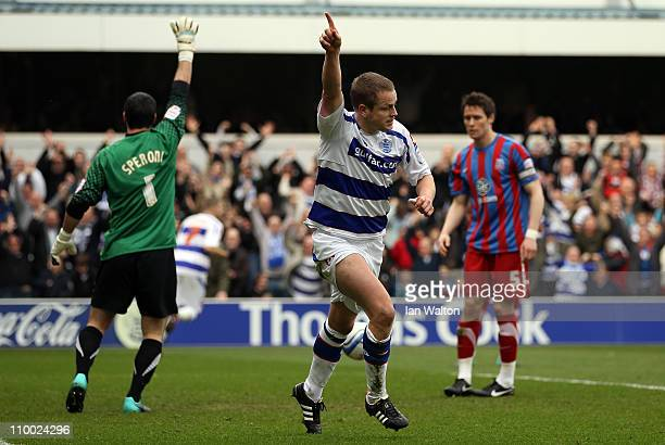 Heidar Helguson of QPR celebrates scoring the first goal during the npower Championship match between Queens Park Rangers and Crystal Palace at...