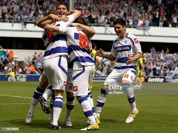 Heidar Helguson of QPR celebrates scoring the first goal during the npower Championship match between Queens Park Rangers and Leeds United at Loftus...