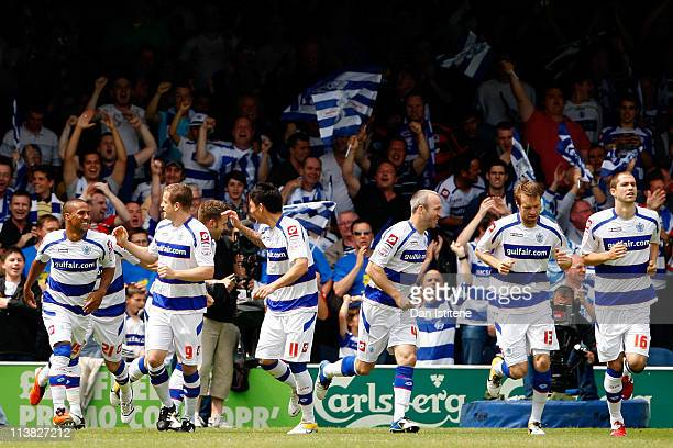 Heidar Helguson of QPR celebrates with his team mates after scoring the opening goal during the npower Championship match between Queens Park Rangers...